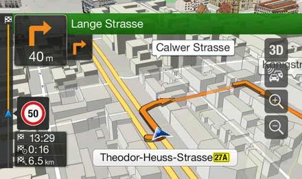 Audi A5 Systèmes de navigation: Cartographie 3D